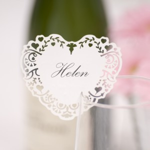 Vintage Romance Place Card on glass