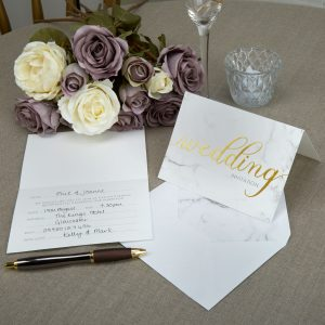 Scripted Marble Wedding Invitations